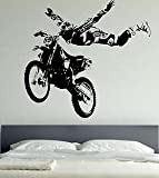 Vinilo adhesivo de pared, tamaño grande, diseño de motocross, 129cm (W) X 120cm (H) - Extra Large