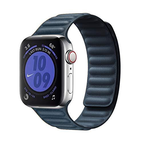 JONWIN Compatibile con Cinturino in Pelle Apple Watch 42/44 mm, Cinturino Regolabile di aggiornamento con Forte Chiusura Magnetica Compatibile per iWatch Series 6/5/4/3/2/1/SE,Blu Baltico