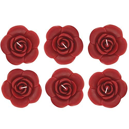 onlinepartycenter 6 Red Rose Floating Candles Wedding Sweet 16 Party Supply