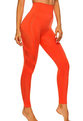 FITTOO Leggings Sin Costuras Corte de Malla Mujer Pantalon Deportivo Alta Cintura Yoga Elásticos Fitness Seamless #1 Naranja M