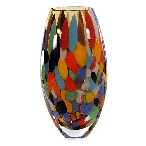 NOVICA Multicolor Confetti Hand Blown Murano Style Art Glass Vase, Carnival Confetti'