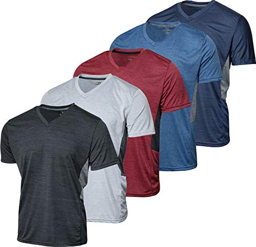 5 Pack:Men's Athletic V Neck T-Shirt Quick Dry Fit Dri-Fit Short Sleeve Active Wear Training Exercise Fitness Workout Tee Fitness Gym Workout Clothing Undershirt Sports Wicking Top-Set 5,M