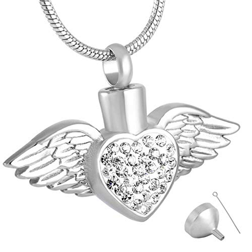 Ashes Necklace Angel Heart Pendant Stainless Steel Ash Urn Cremation Jewelry Cremation Necklace Crystal