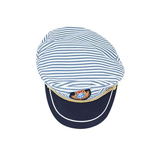 PRETYZOOM Sombrero Capitán Capitanes de Barco Hefner Heffner Marinero Gorra de Yate Tono Disfraz de Capitán Hugh- Sombrero de Capitanes de Mar Gorra de Rayas Azules Cosplay Capitán Adulto