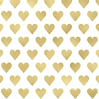 Printed Tissue Paper for Gift Wrapping with Design (Gold Hearts, Style #2) - 24 Large Sheets (20x30)