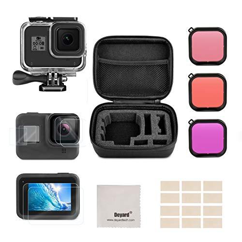 Deyard Zubehör-Kit für GoPro Hero 8 Black, Stoßfeste Tasche, Wasserdichtem Gehäuse + Hartglas Displayschutzfolie+ 3-Farben-Filter Bundle für GoPro Hero 8 Black