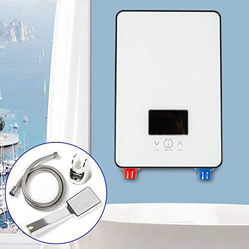Berkalash Durchlauferhitzer, 220V 6500W Mini Elektrische Warmwasserbereiter Dusche Bad Set, für Küche und Bad, Maximale Temperatur 55 °C (Weiß)