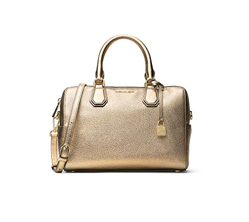 Pale gold textured pebble leather. Zip closure.Bag converts from cross body to tote by removing strap. Exterior features logo, 2 side magnetic-snap pockets and lock charm.Gold-tone hardware. Interior features 1 zip pocket, 4 slip pockets and 1 key fi...