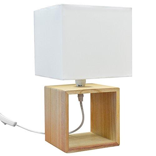 Tafellamp bloemen nachtkastje design modern met houten sokkel en bel van witte stof Abat-Jour 33 x 18 cm lamp E 14