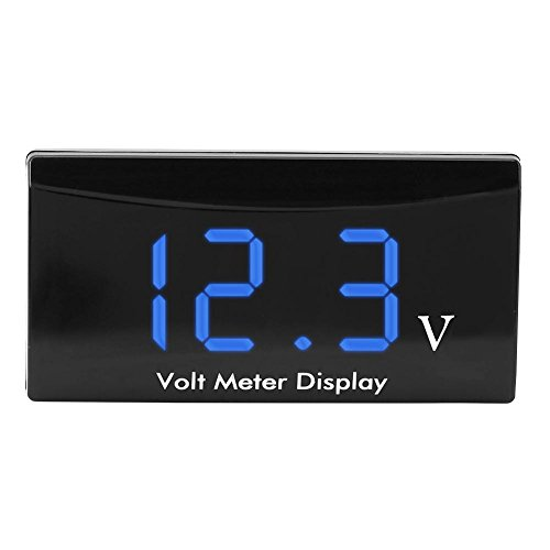 12V DC Voltage Gauge Digital Automotive Car Voltage Gauge LED Display Voltmeter Volt Gauge Panel MeterBlue Digits