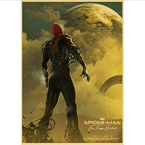 No Película De Superhéroes Spider-Man Far from Home Poster Marvel Movie Pegatinas De Pared Carteles E Impresiones para Sala De Estar Decoración para El Hogar 50X70Cm Sin Marco
