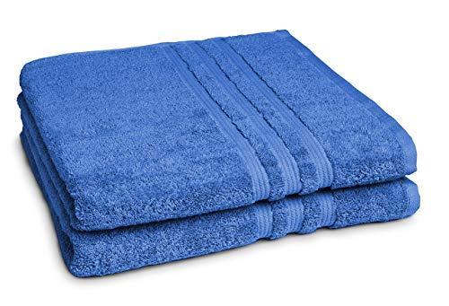 Castell by sleepling 100144/287/772/099-P - Juego de 2 toallas de ducha, 100% algodón, 70 x 140cm, algodón, azul cobalto, 70 x 140 cm