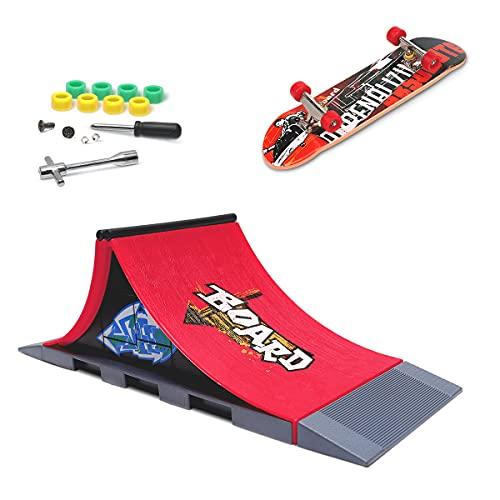 MOMSIV Mini Rampe de Skateboard pour Les Doigts et Ensemble d'accessoires, a