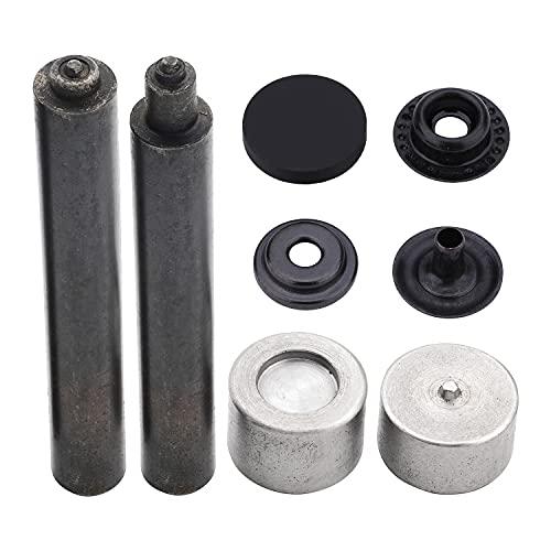 Trimming Shop Pernos de prensa con herramienta de fijación, cierres duraderos de 4 piezas, tapas de aleación de metal para manualidades en cuero, reparación (15 mm, negro, 10 unidades)
