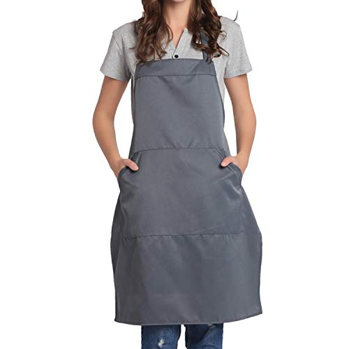 BIGHAS Adjustable Bib Apron with Pocket Extra Long Ties for Women Men, 13 Colors, Chef, Kitchen, Home, Restaurant, Cafe, Cooking, Baking, Gardening (Gray)
