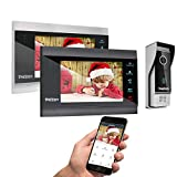 TMEZON Wireless Wifi Smart IP Video Door Phone Intercom System Doorbell Entry 2 Monitor 7 Inch with 1200TVL Wired Doorbell Camera Night Vision,Support Smartphone Remote unlock, Record,Snapshot
