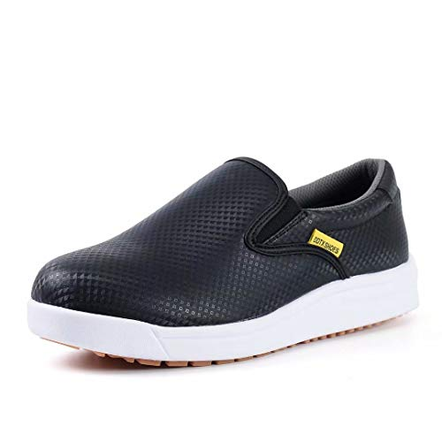 DDTX Kitchen SRC Anti-Skid Work Shoes for Men Breathable Acid and Alkali Resistant Slip-on Chef Shoes Black(8)