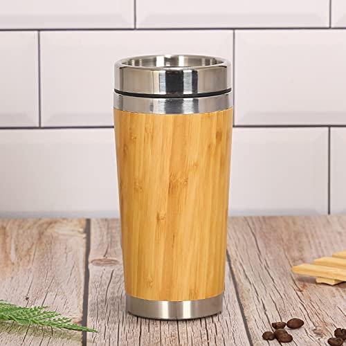 DingHome Big Bamboo Fresco 450 ml Taza de Viaje de bambú Reutilizable (Eco) -Car Taza de té para té y Bebidas frías de café, con a Prueba de Fugas plástico plástico Tap