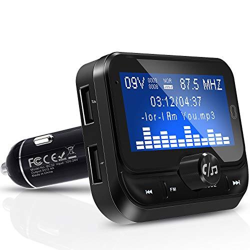 FM Transmitter Auto Bluetooth, Bluetooth FM Transmitter 1,8 Zoll Bildschirm Car MP3 Player, 3.5mm AUX und Micro SDHC-Karten-Slot Adapter für iPhone Android
