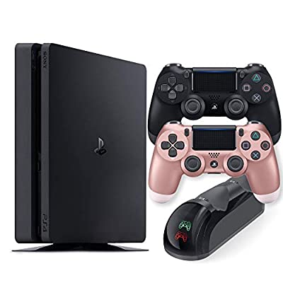 Playstation 4 Slim 1TB Console with Black and Rose Gold Wireless Controller and Mytrix DS4 Fast Charging Dock by Mytrix