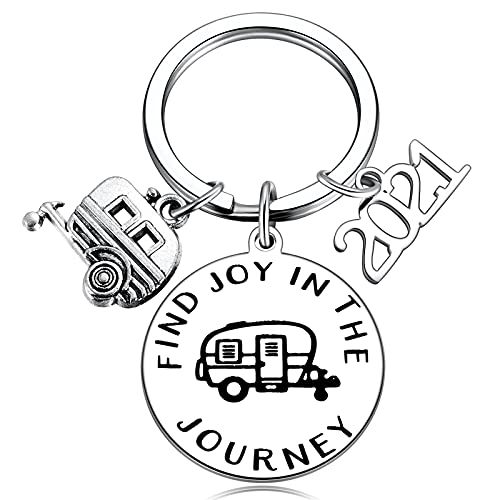 Camper Key Chain RV Accessories for Travel Trailers Inside Decor 2021 New Happy Camper Owner Journey Adventure Gifts Glamping Lifestyle