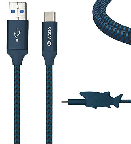 Iwotto Cable USB Tipo C 1M - Carga y Sincronización Rápida para Móvil- USB 3.0 Azul - Nylon Duradero y Protector de Cable Tiburón Incluido - Compatible con Samsung, Xiaomi, Huawei, PS4, Xbox