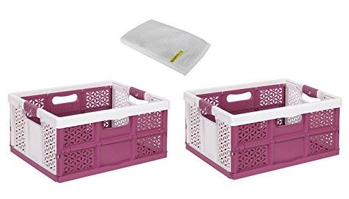 keeeper Lot de 2 boîtes pliables professionnelles avec poignées souples Blanc/baies 32 l jusqu'à 40 kg