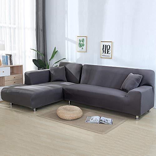 BKHBJ 4/3/2/1 Seater en Forma de L Fundas de sofá Sala de Estar Chaise Longue Spandex apoyabrazos Slipcover Fundas de sofá de Esquina Estiramiento-Gris_1 Asiento y 2 plazas