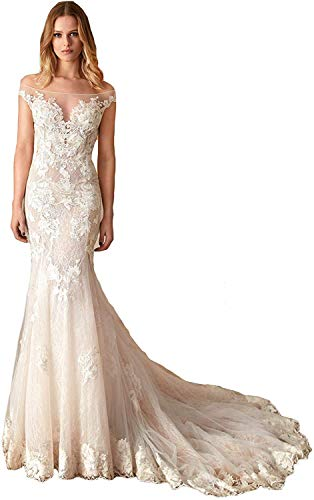 Melisa Women's Lace Off The Shoulder Wedding Dresses with Train Elegant Beach Mermaid Ball Gowns for Bride Ivory