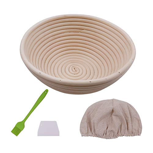 Gärkorb Gärkörbchen Brotform Natürlicher Peddigrohr Brotkorb für 1000g Brot Teig Ausgelegt mit Leineneinsätze, 25cm Rund Brotkörbchen