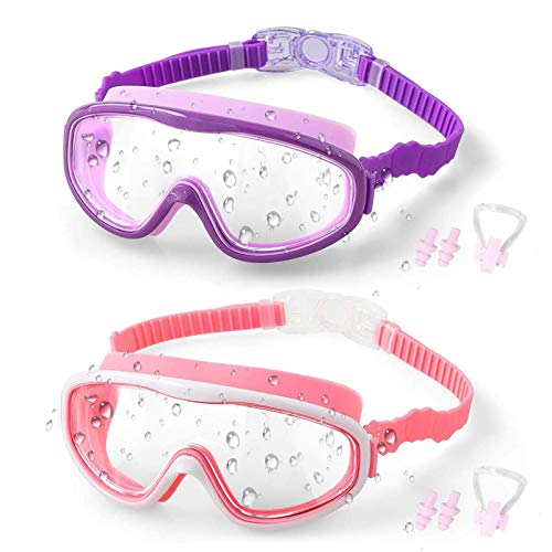 Anni Coco Kids Swimming Goggles for Age 4-15, Anti Fog No Leak UV Protection Wide View Swim Goggles With Nose Cover (2 Pack)
