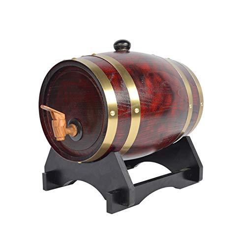 HWhome Champán Barril 3L / 5L / 10L / 20L / 30L Oak Ageing Barrels Whisky Barrel Dispenser Inicio Wine Bucket Whisky Barrel, For Almacenar Su Whisky De Licores Añejos(Botellero Gratis)(Size:3L)