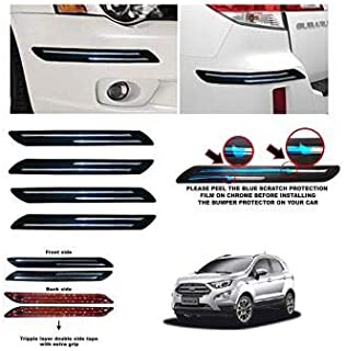 CSC CRAFT Bumper Protector Guard Double Chrome Strip 4PCS Black (for Ford ECOSPORT)