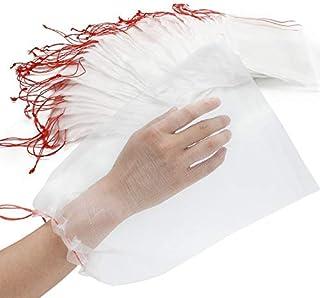 ENPOINT Fruit Protect Bags, 100 PCS Net Barrier Bag with Drawstring, Reusable Nylon Mesh Garden Netting Protection Bag for Plant/Fruit/Flower, Against Mosquito Bug