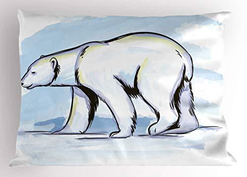 ABAKUHAUS Polo Norte Funda de Almohada, Retrato A Lápiz del Oso Polar, Decorativa Estampada Tamaño Standard Dos Plazas, 90 X 50 cm, Azul Bebé Amarillo Pálido Purpleblue Gris Carbón