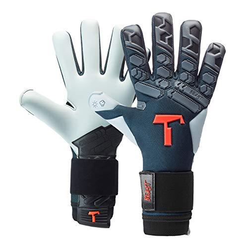 T1TAN Petrol Beast 2.0 Torwarthandschuhe für Erwachsene, Fußballhandschuhe Herren Innennaht und 4mm Aqua Grip - Gr. 8