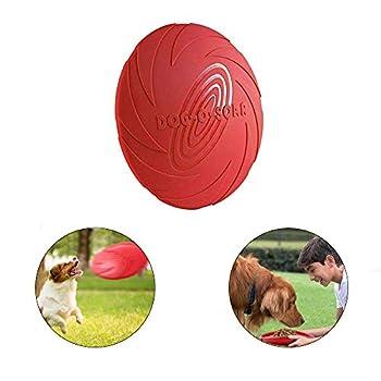 YFOX 2 pièces Frisbee Jouet Flottant pour Chien en Caoutchouc Naturel(Rouge)