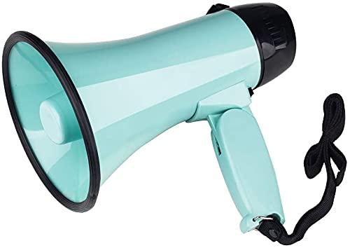 MyMealivos Portable Megaphone Bullhorn 20 Watt Power Megaphone Speaker Voice and Siren/Alarm Modes with Volume Control and Strap (Teal)