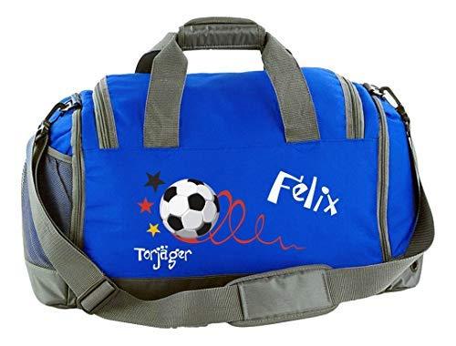 Mein Zwergenland Multi Sporttasche Kinder mit Schuhfach und Feuchtfach Sporttasche mit Namen Fußball Torjäger als Aufdruck Farbe Royal Blau 41 L Stauraum die perfekte Sporttasche für Kinder