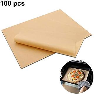 Papel de pergamino, papel de pergamino para hornear sin blanquear, antiadherente, precortado, 12 x 16 pulgadas (100 unidades) para freidoras de aire, barbacoa, vapor, sartenes, papel de galletas