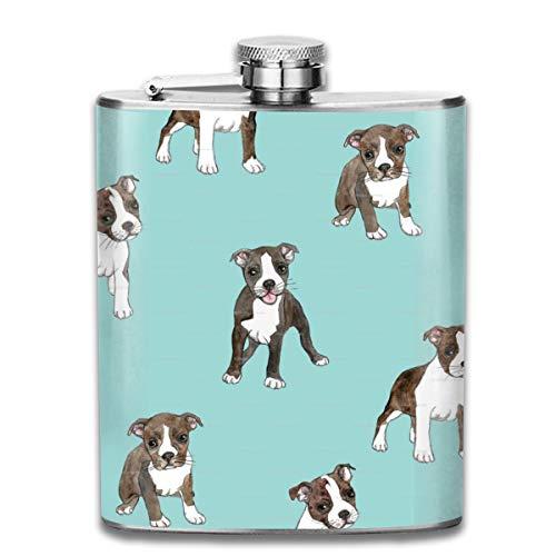 KutLong Boston Terrier Dog Blue Fashion Portable Stainless Steel Hip Flask Whiskey Bottle for Men and Women 7 Oz