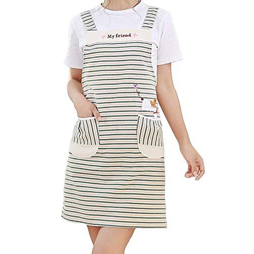 MeetUs Delantal de rayas de algodón para mujer con doble bolsillo Conveniente Bañador de cuello de rayas profesional para cocinar, hornear y asar
