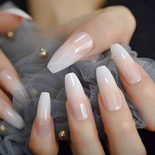 ZHEN Punta francesa Forma de bailarina extra larga Prensa falsa en uñas naturales Gradiente blanco Puntas de ataúd desnudo con pestañas adhesivas