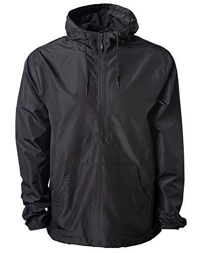 Global Blank Lightweight Half Zip Up Pullover Windbreaker Jacket Shell Men Women Black