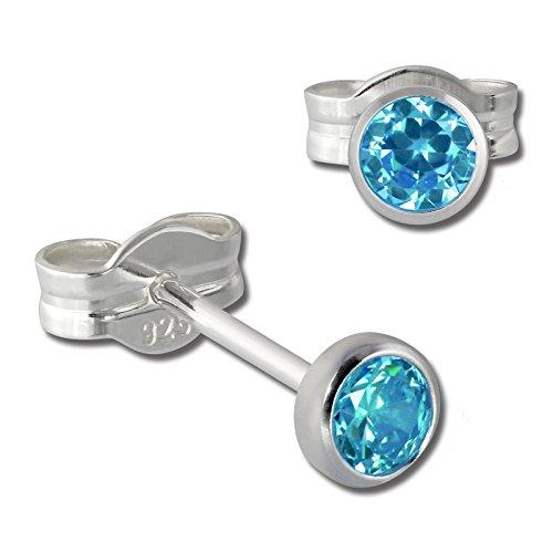 SilberDream Ohrringe 3mm Damen 925 Silber Ohrstecker Zirkonia türkis SDO5533T ein Angebot von IMPPAC