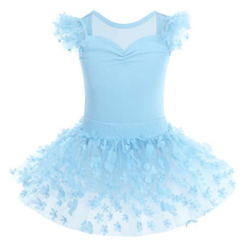 Vestido de ballet para nia, de manga corta, maillot de ballet, de algodn, con falda envolvente de tul, disfraz de princesa 92  140 01-azul 9-10 Aos