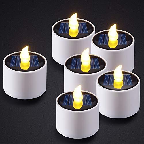 PChero 6pcs Solar Wiederaufladbare LED Kerzen Flackern Wasserdichtes Teelicht für Patio Garten Hochzeit Party Urlaub Weihnachten Neujahr Dekoration
