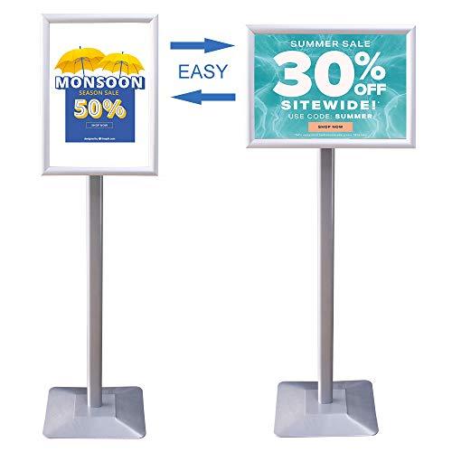 XIWODE - Soporte para póster A3 de aluminio, marco abierto, resistente, soporte para avisos de pedestal para bodas, negocios, 42 x 30 cm, color plateado
