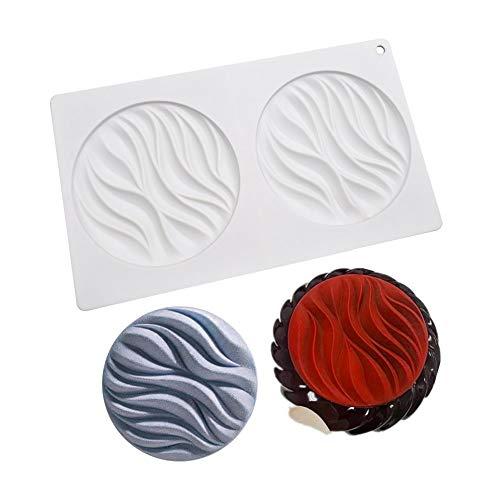enduo Stampo in Silicone per budino di Gelatina Caramelle Cioccolato, 2 Fori, Motivo a Onde Rotonde