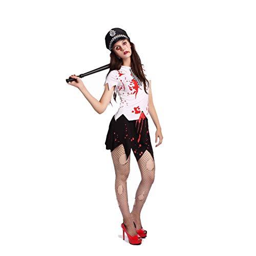 GHH Erwachsene Frauen Kurven Zombie Polizisten-Kostüm, Kleid und Kopfschmuck, Frauen Halloween-Kostüm (150cm ~ 180 cm),XL (170~180)
